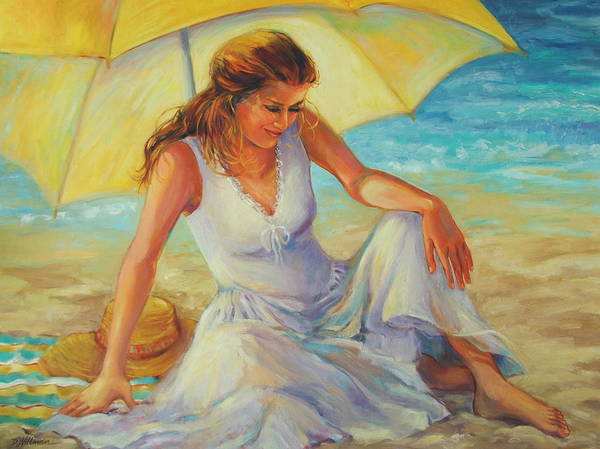 Beach Poster featuring the painting Sunlit by Dianna Willman