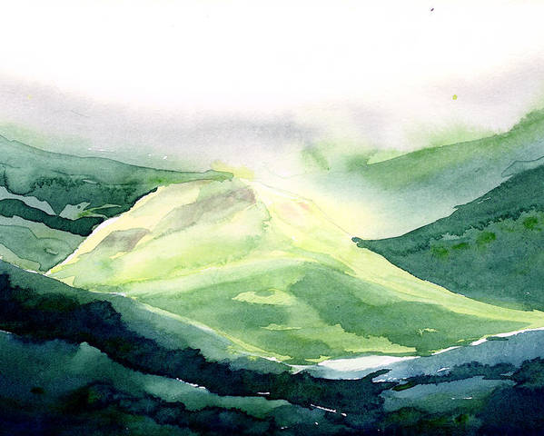 Landscape Poster featuring the painting Sunlit Mountain by Anil Nene