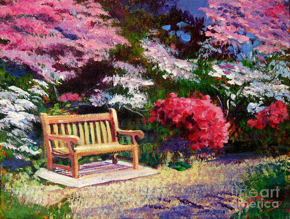 Gardens Poster featuring the painting Sunny Bench Plein Aire by David Lloyd Glover