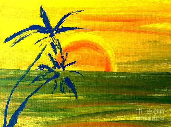Sunny Blue Palms Poster featuring the painting Sunny Blue Palms by James and Donna Daugherty