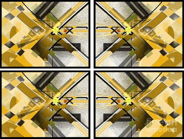 Abstract Poster featuring the digital art Sunny City X4 by Jo Baby
