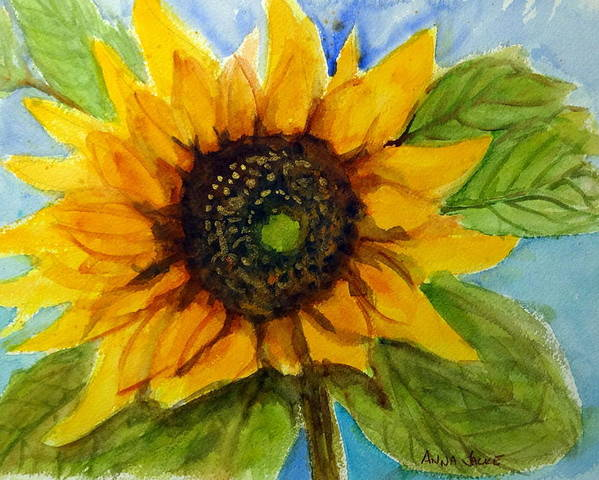 Large Sunflower Poster featuring the painting Sunny Disposition by Anna Jacke