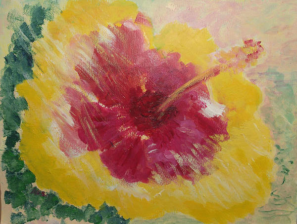 Kauai Poster featuring the painting Sunny Hibiscus by Adrian Simpson