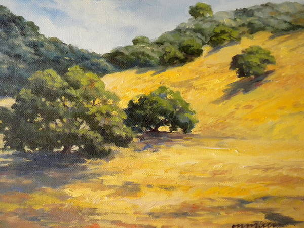 Landscape Poster featuring the painting Sunny Hills by Maralyn Miller