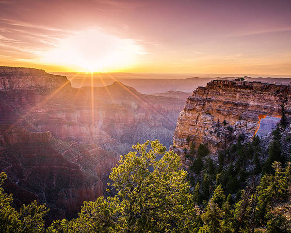Adventure Poster featuring the photograph Sunrise At Angel's Window Grand Canyon by Scott McGuire