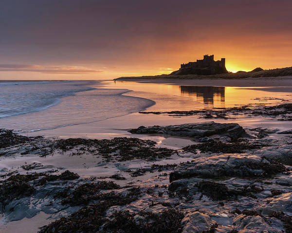 Sunrise Poster featuring the photograph Sunrise at Bamburgh Castle #4, Northumberland, North East England by Anthony Lawlor