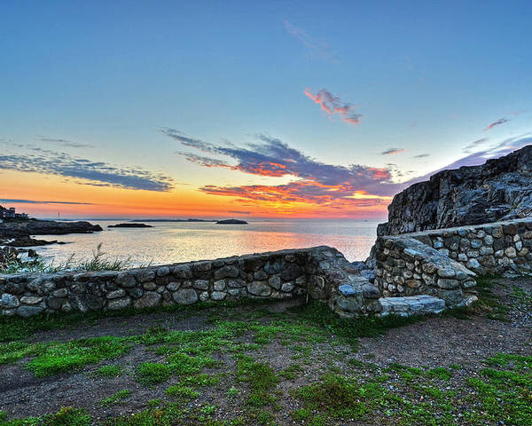 Marblehead Poster featuring the photograph Sunrise At Castle Rock Marblehead Ma Rocky Coast by Toby McGuire