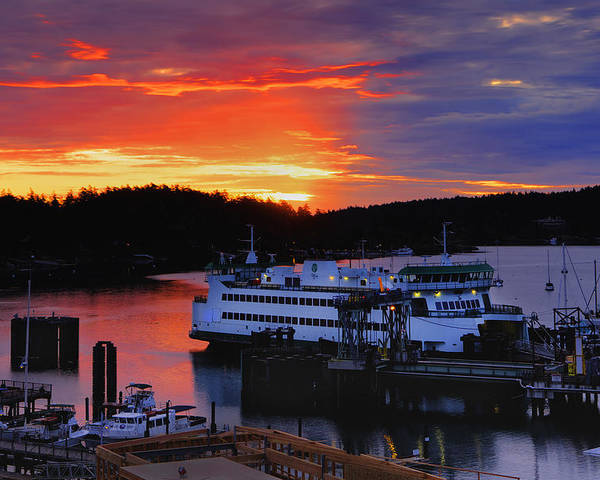 Friday Poster featuring the photograph Sunrise At Friday Harbor by Bob Stevens