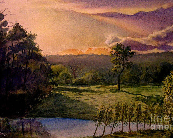 Forest Poster featuring the painting Sunrise At L Hermitiere by Christian Simonian