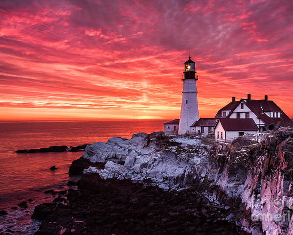 Cape Elizabeth Poster featuring the photograph Sunrise At Portland Head Lighthouse by Benjamin Williamson