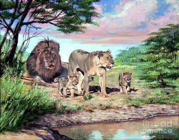 Lions Poster featuring the painting Sunrise At The Oasis by David Lloyd Glover