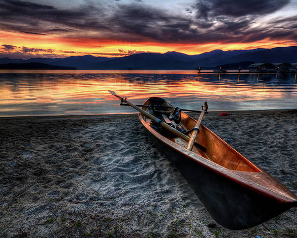 Priest Lake Poster featuring the photograph Sunrise Boat by Matt Hanson