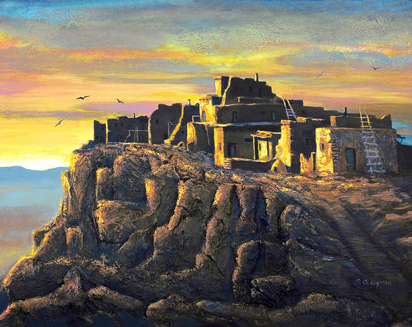 Landscape Poster featuring the painting Sunrise Citadel by Brooke Lyman