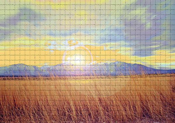 Sunrise Poster featuring the photograph Sunrise Field 2 - Mosaic Tile Effect by Steve Ohlsen