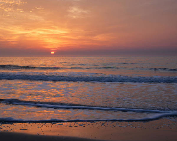 Beach Poster featuring the photograph Sunrise Huntington Island State Park by Alan Lenk