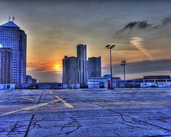 Sunrise Ferrari Poster featuring the photograph Sunrise In Detroit Mi by Nicholas Grunas