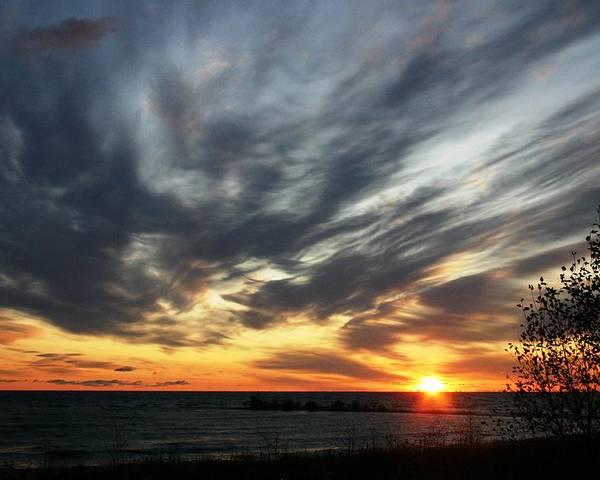 Sunrise Poster featuring the photograph Sunrise Lake Huron 3 by Joni Strickfaden