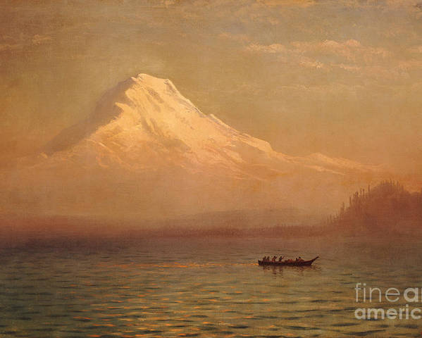 American; Landscape; Mount Rainier; Mt; Washington State; Mowich Lake; Volcano; Mountain; West; Western; Northwest; Wilderness; Boat; Dawn; Snowcapped; Snow-capped Poster featuring the painting Sunrise On Mount Tacoma by Albert Bierstadt