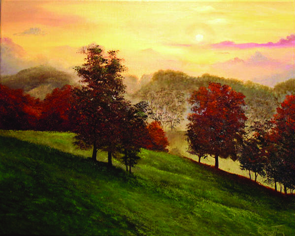Connie Tom Poster featuring the painting Sunrise Over Shenandoah Valley by Connie Tom
