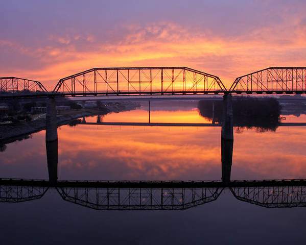 Walnut Street Bridge Poster featuring the photograph Sunrise Walnut Street Bridge 2 by Tom and Pat Cory