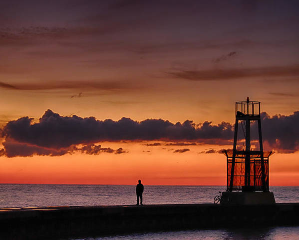 Chicago Poster featuring the photograph Sunrise Watcher by John McArthur