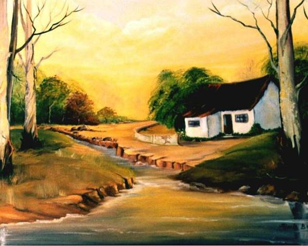 Landscape Poster featuring the painting Sunset by Ansie Boshoff