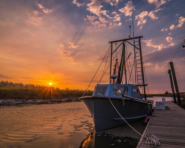 Boat Poster featuring the photograph Sunset At Alviso by Ian Aldridge