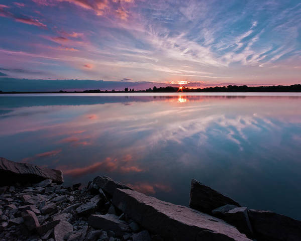 Sunrise Poster featuring the photograph Sunset at Anglezarke Reservoir #1, Rivington, Lancashire, North West England by Anthony Lawlor