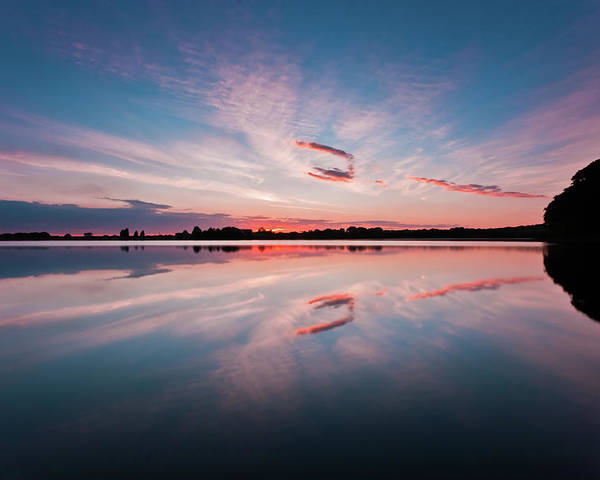 Sunrise Poster featuring the photograph Sunset at Anglezarke Reservoir #3, Rivington, Lancashire, North West England by Anthony Lawlor