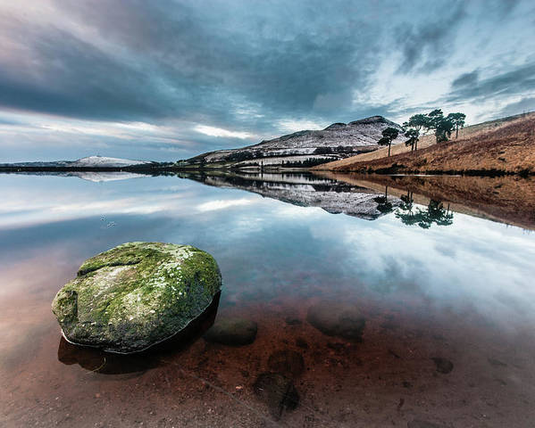 Sunset Poster featuring the photograph Sunset at Dovestone Reservoir, Greater Manchester, North West England by Anthony Lawlor