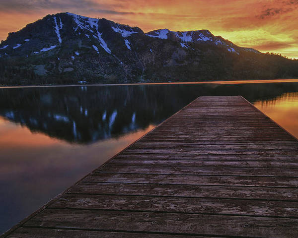 Fallen Poster featuring the photograph Sunset At Fallen Leaf Lake by Jacek Joniec