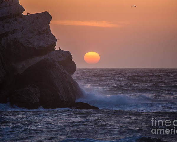 Morro Bay Poster featuring the photograph Sunset At Star Gazer Rock B3967 by Stephen Parker