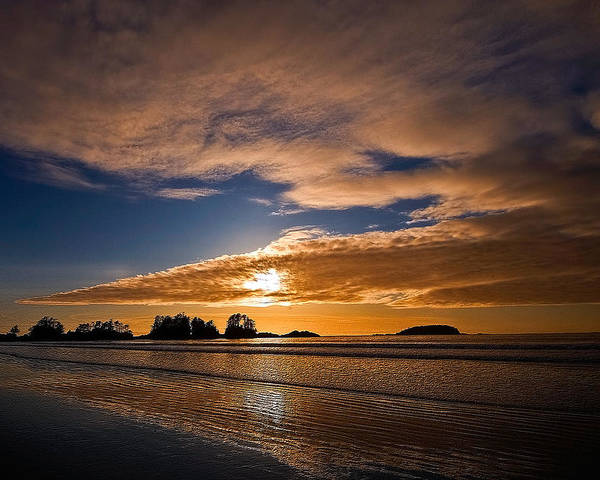 Beach Poster featuring the photograph Sunset At Tofino by Detlef Klahm