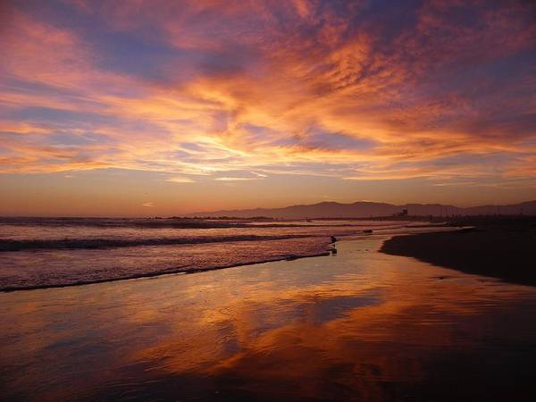 Sunset Poster featuring the photograph Sunset At Venice Beach by Henry Murray