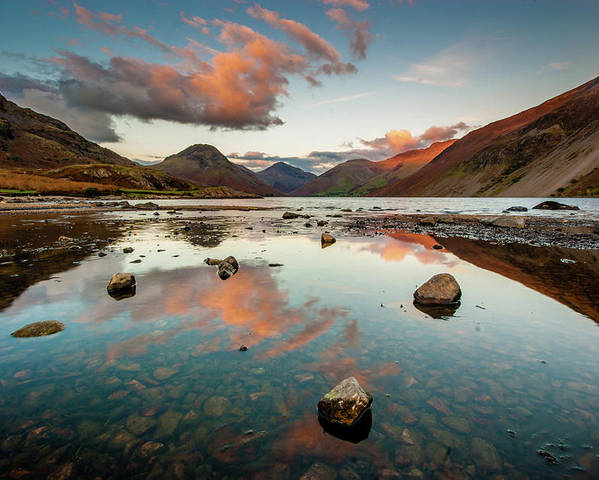 Sunrise Poster featuring the photograph Sunset at Wast Water #1, Wasdale, Lake District, England by Anthony Lawlor