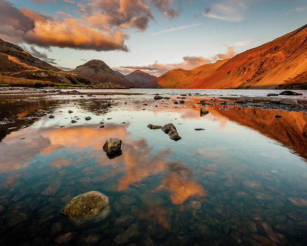 Sunrise Poster featuring the photograph Sunset At Wast Water #2, Wasdale, Lake District, England by Anthony Lawlor