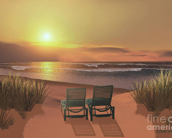 Lounge Chair Poster featuring the painting Sunset Beach by Corey Ford