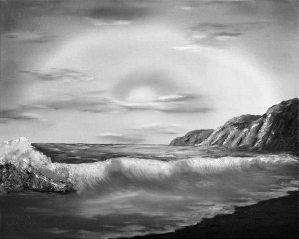 Black And White Poster featuring the painting Sunset Beach Pastel Splash In Black And White by Claude Beaulac