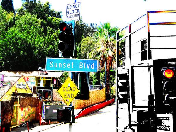 Stoplight On Sunset Blvd Poster featuring the digital art Sunset Blvd by Maria Kobalyan