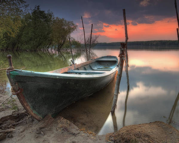 Boat Poster featuring the photograph Sunset Boat by Evgeni Dinev