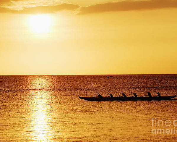 Boat Poster featuring the photograph Sunset Canoe by Vince Cavataio - Printscapes