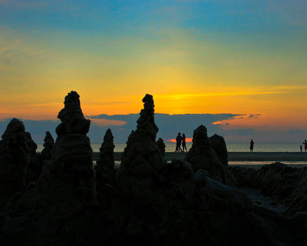 Cape Cod Poster featuring the photograph Sunset Castles by Wayne Vedvig