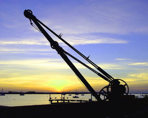 Sunset Poster featuring the photograph Sunset Crane by Andrew Ford