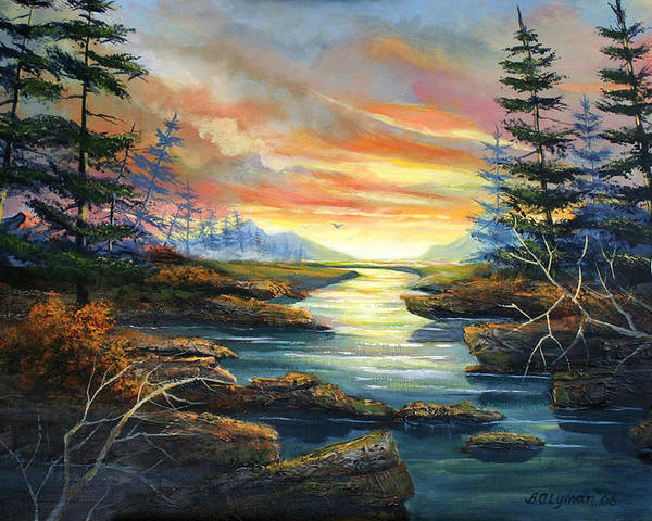 Landscape Poster featuring the painting Sunset Creek by Brooke Lyman