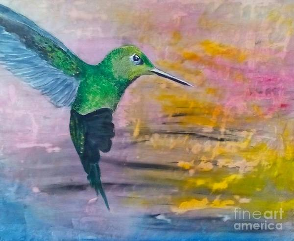 Hummingbird Poster featuring the painting Sunset Dancer by J Bauer