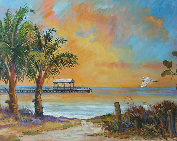 Beach Poster featuring the painting Sunset Flight by Dianna Willman