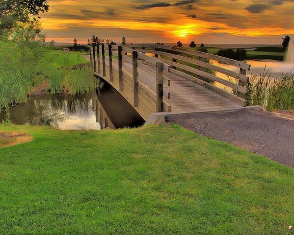 Landscape Poster featuring the photograph Sunset Foot Bridge by Dale Stillman