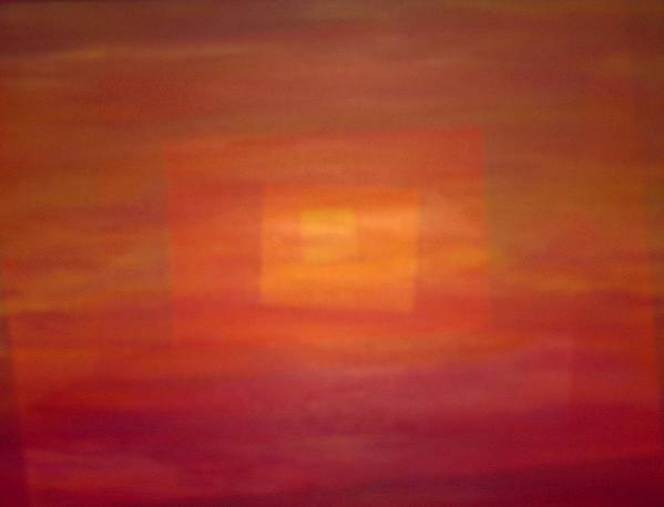 Rectangles Sunset Abstract Bright Poster featuring the painting Sunset For Sarah by Sally Van Driest