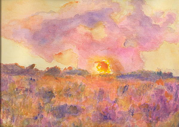 Landscape Sunset Sunrise Pink Impressionist Hillaryart Poster featuring the painting Sunset From The Road by Hillary McAllister