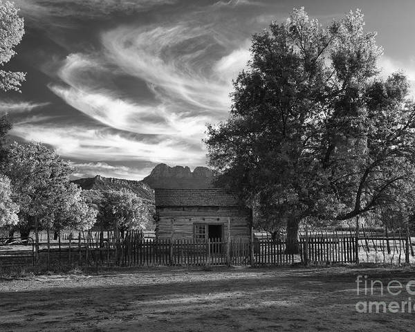 Black & White Poster featuring the photograph Sunset In Grafton Ghost Town by Sandra Bronstein